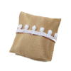 Gold Pillow With White Lace Tassels