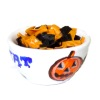 Black and Orange Corn Chips in Halloween Trick or Treat Bowl