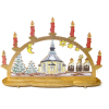 Deluxe Wood Christmas Church Candle Bow Decoration M