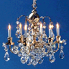 Working Renaissance Six Arm Real Crystal Chandelier