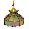 Illuminated Multicolor Stained Glass Chandelier
