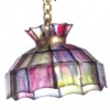 Illuminated Scalloped Faux Stained Glass Chandelier