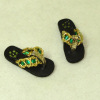 Prestige Leather Handcrafted Sandals Green and Gold Straps