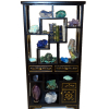 Filled Museum Display Asian Cabinet Mineral Crystals and Books